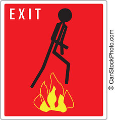 red exit sign with  warning