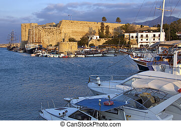 Kyrenia Castle - Turkish Cyprus - Kyrenia Castle and harbor...