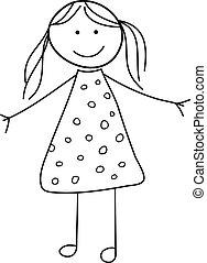 Child Girl Doodle Sketch Vector Illustration