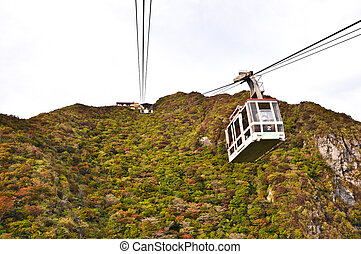 Cable car on the mountain at National Park Unzen, Obama,...
