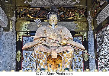 Gardian in front of Shrine door at Nikko, Japan
