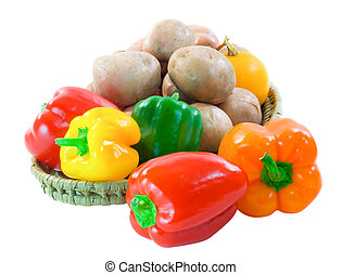 Capsicum potatoe and squash - Basket of colourful capsicum,...