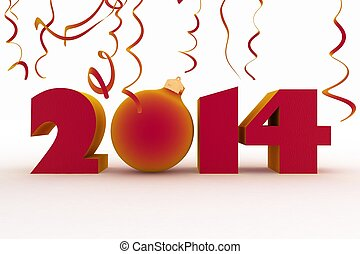 2014 year. Isolated 3D image