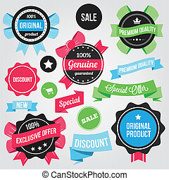 Vector Badges Stickers and Ribbons