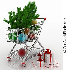 Shopping cart full with christmas balls with fir-tree and...