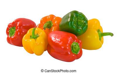 Capsicum - Selection of brightly colored capsicum on white...