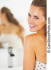 肖像画, 浴室, 女, 若い, 幸せ