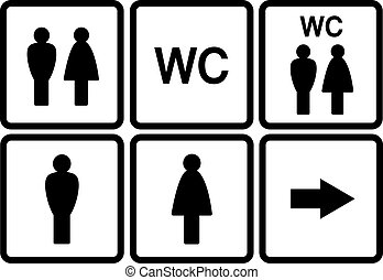 set of wc icons - set of black wc icons on white background...