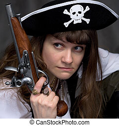 Girl - pirate and ancient pistol - Girl - pirate on black...