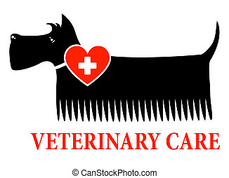 black dog with veterinary care sign on white backgroun