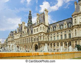 city hall of Paris, France - city hall ( Hôtel de Ville) of...