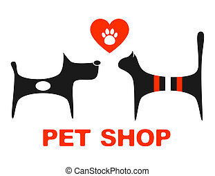 pet shop symbol with pets