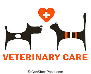 symbol of veterinary care with cute dog and cat