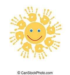Joyful sun of handprints - Joyful sun of a handprints