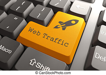 Keyboard with Web Traffic Button. - Orange Web Traffic...