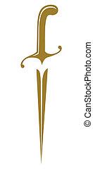 Medieval golden dirk symbol