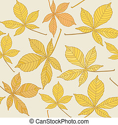 Seamless pattern with chestnut leaves - Seamless background...