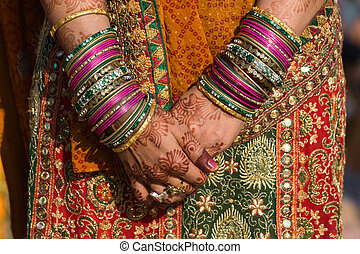 Henna on hands of bride from India - Hands of an indian...