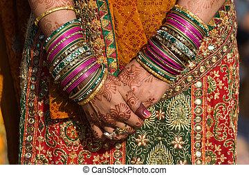 henna, mãos, Noiva, Índia