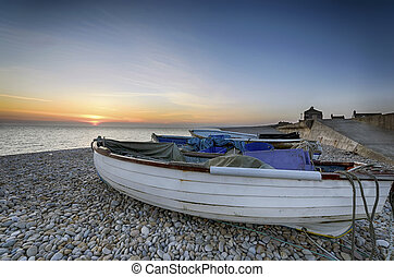 Chesil Beach - Boats at Chesil Cove on Portland Bill in...