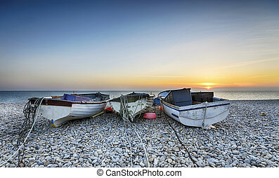 Boats on Chesil Beach - Boats at Chesil Cove on Portland...