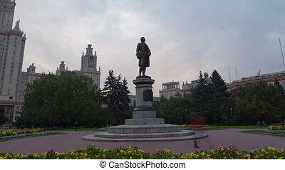 Monument to Lomonosov hyperlapse - M.V. Lomonosov (1711 -...