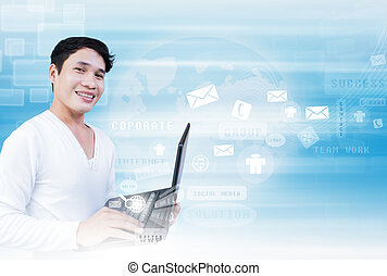 Man With  Laptop Technology