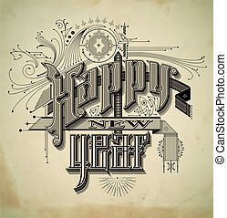 Vintage style New Year card - 1900s style detailed vintage...