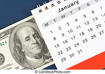 Calendar and dollar, January, New Year