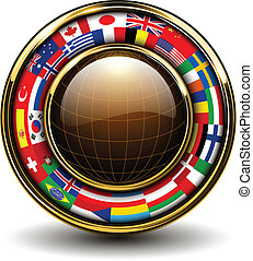 Globe with flags around, 3D vector illustration