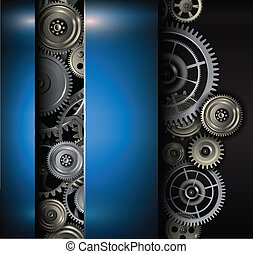 Background metallic gears and cogwheels, technology vector...