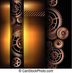 Background metallic technology gears, vector illustration