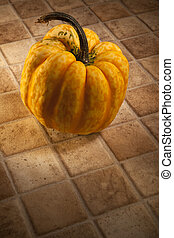 Harlequin Squash on a kitchen work surface