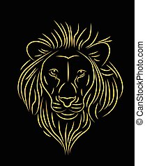 golden lion  - vector illustration of golden lion