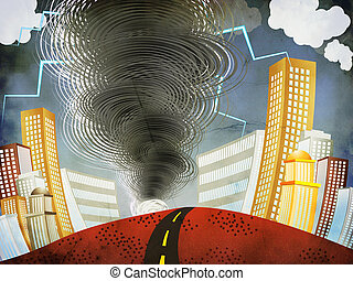 Big Tornado - Illustration of big tornado with lightnings in...