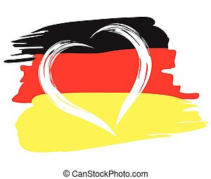 painted german flag with heart shape symbol - German flag...