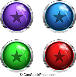 Glossy strat buttons: red, green, blue and purple