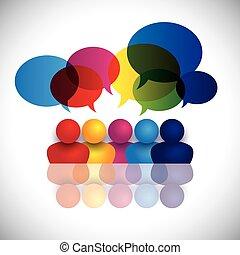 conceito, vetorial, escola, crianças, falando, ou,...