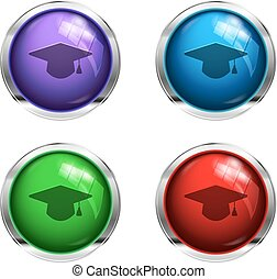 Graduation cap buttons
