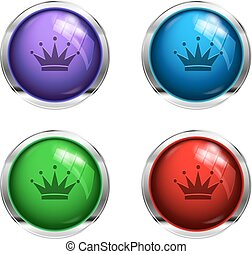 Shiny crown buttons