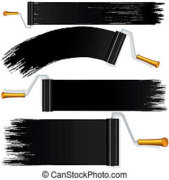 Black Roller Brush on White Background. - Black Roller Brush...