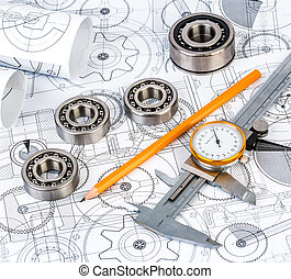 Ball bearings on technical drawing