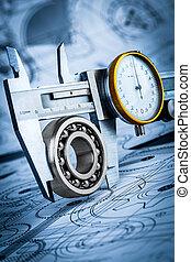Ball bearings and Metal vernier caliper - Metal vernier...