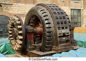 obsolete large asynchronous motor in a factory