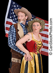 Senior cowboy couple - Senior married American couple in...
