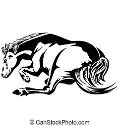 horse wallow - Horse wallow. Black-and-white drawing....