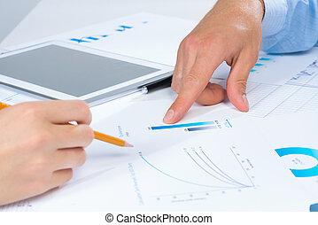 negócio, pessoas, Discuta, reunião, alvos