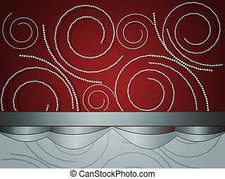 Pearls on red background - Illustration of small white...