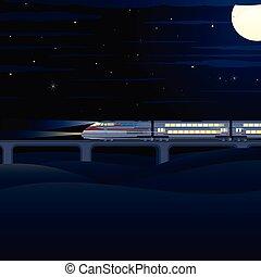 Night Express. Vector Illustration