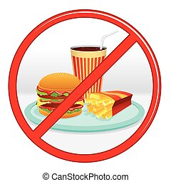 No Fast Food Prohibition Sign Vector Label - No Fast Food,...